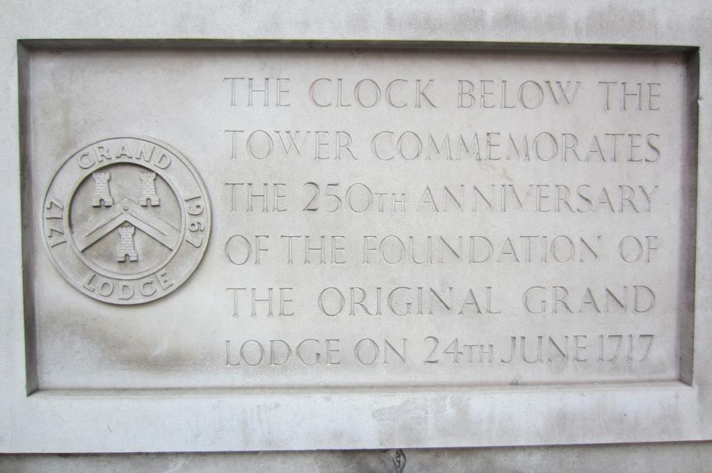 Inscription outside Grand Lodge